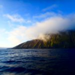tecla sailing along the coastline of iceland